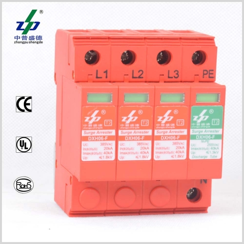 AC 220V 40kA 4P N-PE CE/TUV/UL Certified Three Phase Surge Protection Device