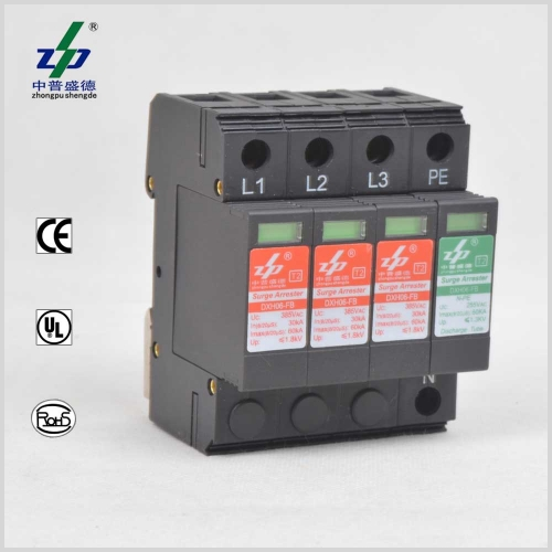 AC 220V 60kA 4P N-PE CE Certified Three Phase Surge Protection Device